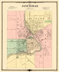 United States Street Map by Old City Map Janesville Wisconsin Landowner 1878
