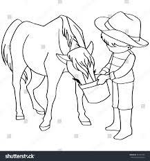 coloring book child feeding horse vector stock vector 347361392