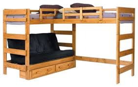 Woodcrest Heartland Futon Bunk Bed With Extra Loft Bed Modern - Futon bunk bed