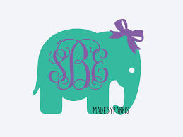 bow monogram elephant with bow monogram vinyl decal monogram decal elephant