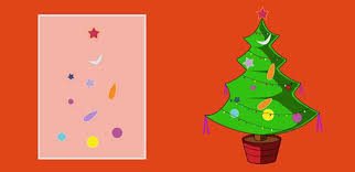 merry tree greeting card for mocomi