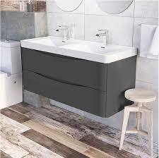 double sink wall hung vanity unit motiv 1200mm wall mounted grey gloss double basin vanity unit