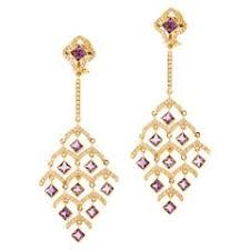 Rose Gold Chandelier Earrings Star Storm Rose Cut Diamond Spiral Chandelier Earrings On 18 Karat