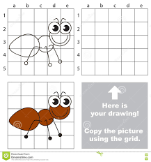 copy the image using grid the ant stock vector image 75235365