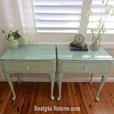 vintage green painted side tables