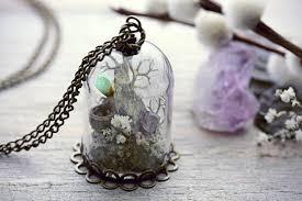 terrarium necklace raw crystal quartz jewelry botanical pendant