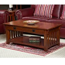 Two Drawer Coffee Table Leick Mission Rectangle Russet Wood Coffee Table With Two Storage