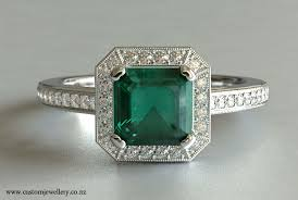 square style rings images Square emerald cut emerald and diamond engagement ring halo jpg