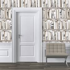 muriva encyclopedia bookcase wallpaper in cream 572217