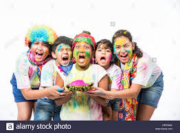 five or 5 indian with colours or asian