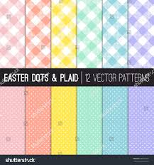 easter colors pixel gingham tiny polka stock vector 600600374