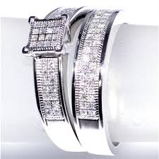 Matching Wedding Rings by White Gold Trio Wedding Set Mens Womens Wedding Rings Matching