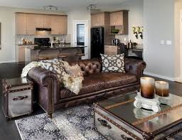 Brown Leather Sofa Chesterfield Living Room Coffee Table Chest - Leather sofa interior design