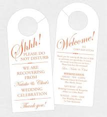 destination wedding itinerary set of 10 sided door hanger for wedding hotel welcome bag