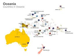 map of australia and oceania countries and capitals editable powerpoint slides oceania map