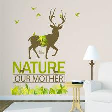 Deer Wall Decor Aliexpress Com Buy Nature Forest Deer Wall Sticker Livingroom