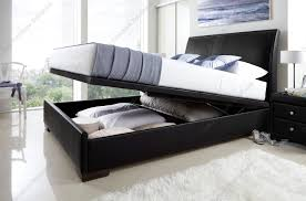 expresso brown faux leather ottoman storage bed about henley