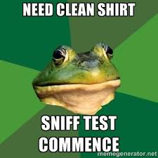 Test Taking Meme - bachelor frog meme picks out a shirt with the smell test