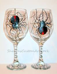 halloween punch bowl set black widow spiders hanging web halloween hand painted wine