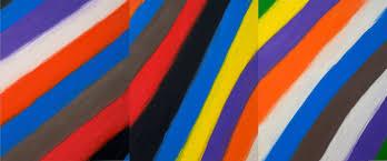 Blue Flag With Yellow Stripe Craven Stripe Triptych Brown Blue Purple Orange Blue Brown Green