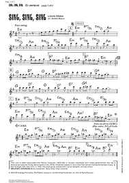 sing sing sing with a swing louis prima sing sing sing e flat lead sheet sheet for piano and