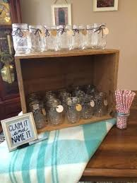 rustic bridal shower favors falling in bridal shower drink station wedding