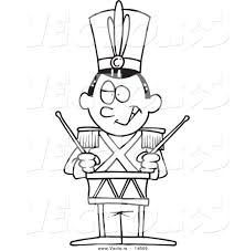vector of a cartoon tin soldier drumming coloring page outline