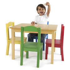 tot tutors kids wood table and 4 chairs set natural primary