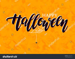 happy halloween lettering detailed engraving background stock