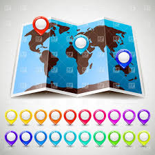 World Map Pins by World Map With Colorful Map Pins Vector Image 17893 U2013 Rfclipart