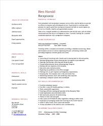 Sample Receptionist Resume by Sample Resume 24 Documents In Pdf Word