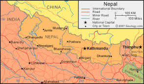 map of nepal and india nepal map and satellite image