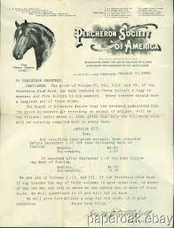 Society Letter Before 1908 Letter From The Percheron Society Of American With Graphic