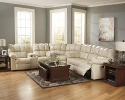 plush sectional sofas signature design by ashley kennard cream reclining sectional