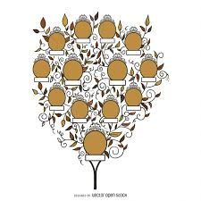 family tree with leaves template vector download
