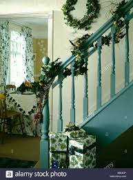 christmas garland staircase stock photos u0026 christmas garland