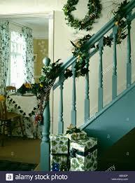 Christmas Banisters Christmas Garland Staircase Stock Photos U0026 Christmas Garland