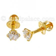 gold earrings for babies gold baby earrings with cz 22k gold jewelry gold palace
