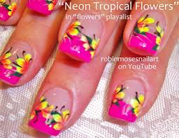tropical flower nails 35 tropical nail art designs for summer