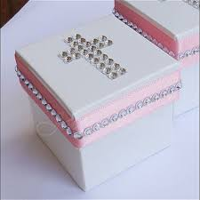 baptism favor boxes baptism favor box in pink and white from peters