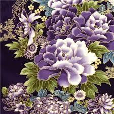 Flower Fabric Design Purple Robert Kaufman Fabric With Asian Flowers U0026 Border Fabric