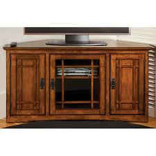 media console with glass doors bedroom customized brown varnished oak wood media console table