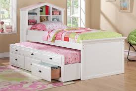 size bed multi storage unit white and pink finish trundle drawers