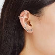 cartilage cuff earrings silver flower cartilage ear cuff earring set rosegal