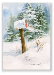 christmas cards in watercolor winter mailbox watercolor christmas greeting card by susie