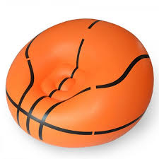 Orange Sofa Chair Portable Basketball Pattern Flocking Fast Inflatable Lazy Sofa