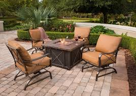 Outdoor Table With Firepit by Hanover Summer Night 5 Piece Gas Fire Pit Set Youtube
