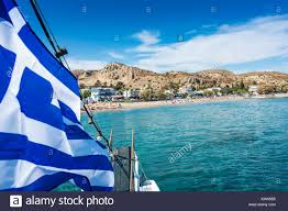 Blue Flag Yachts Greek Flag On Beach Beach Stock Photos U0026 Greek Flag On Beach Beach