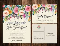 wedding invitations floral bold bohemian floral wedding invitations printable or set of 25