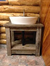 Wood Bathroom Vanities Cabinets by Bathroom Reclaimed Pine Wood Bathroom Vanity With Vessel Sink